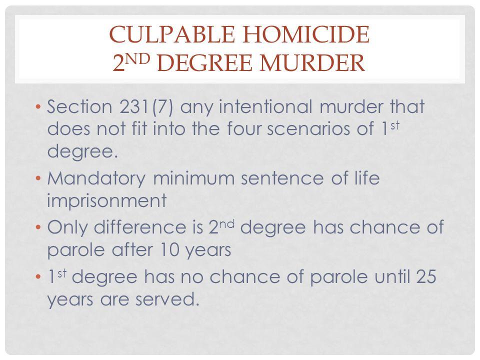 Culpable Homicide 2nd Degree Murder