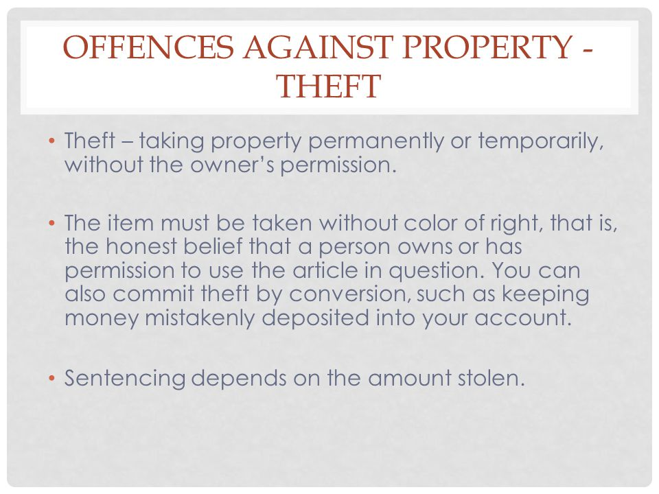 Offences Against Property -Theft