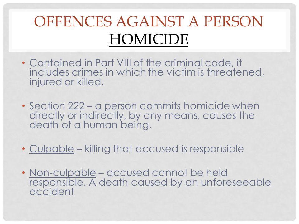 Offences Against a Person Homicide