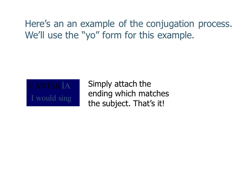 Here's an an example of the conjugation process