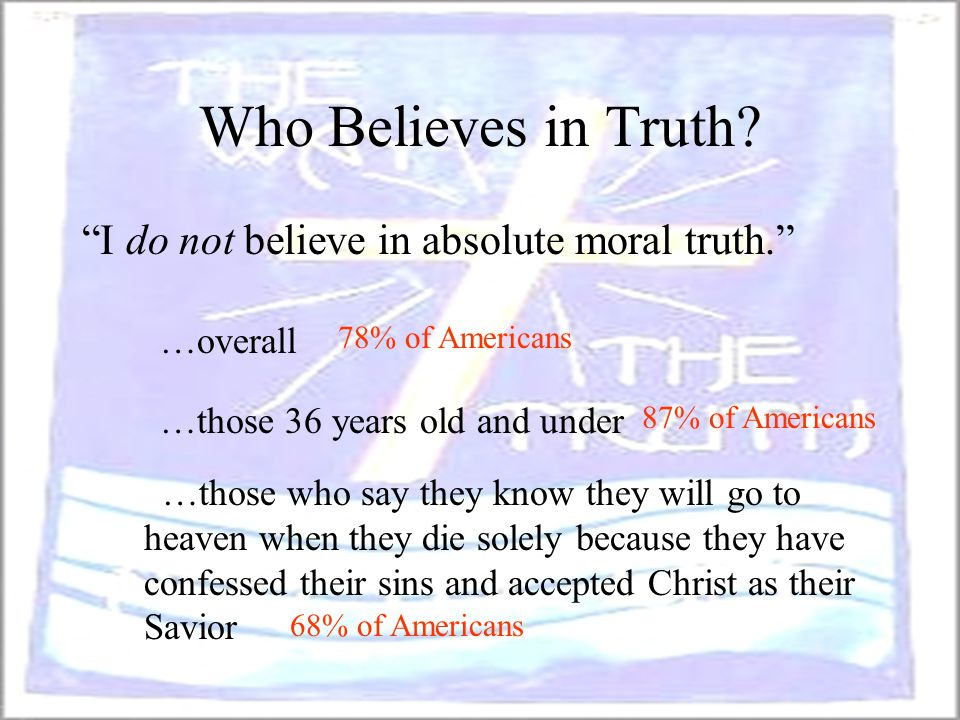 Who Believes in Truth I do not believe in absolute moral truth.