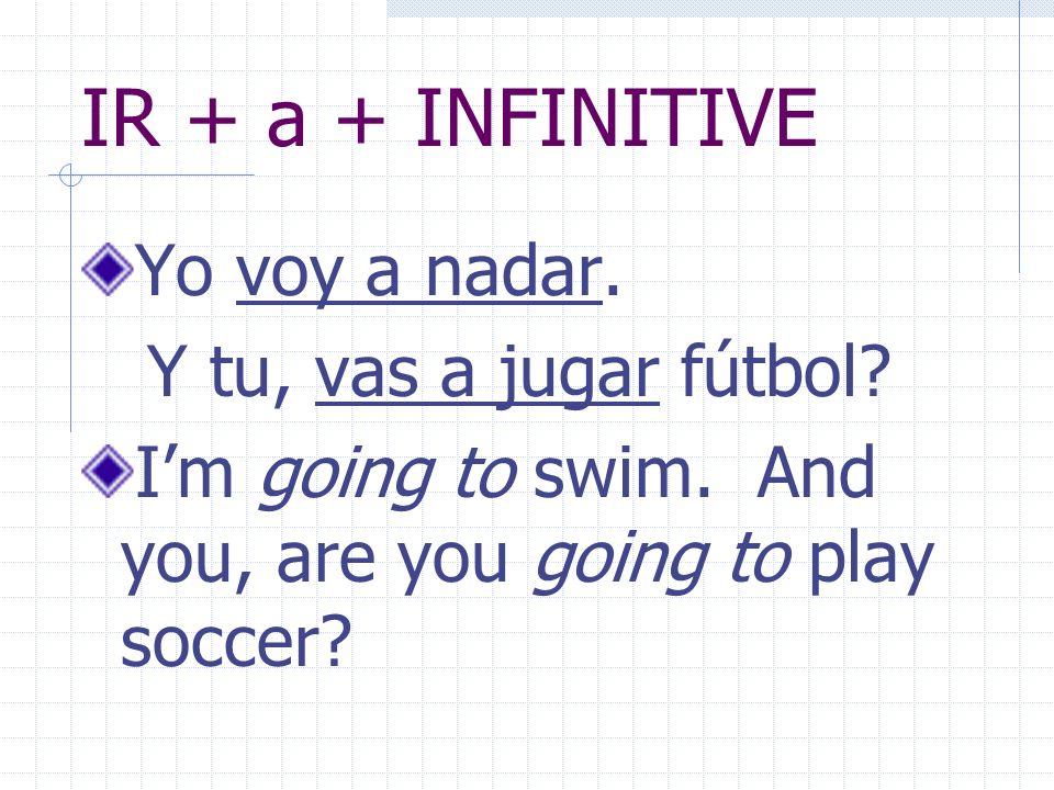IR + a + INFINITIVE Yo voy a nadar. Y tu, vas a jugar fútbol