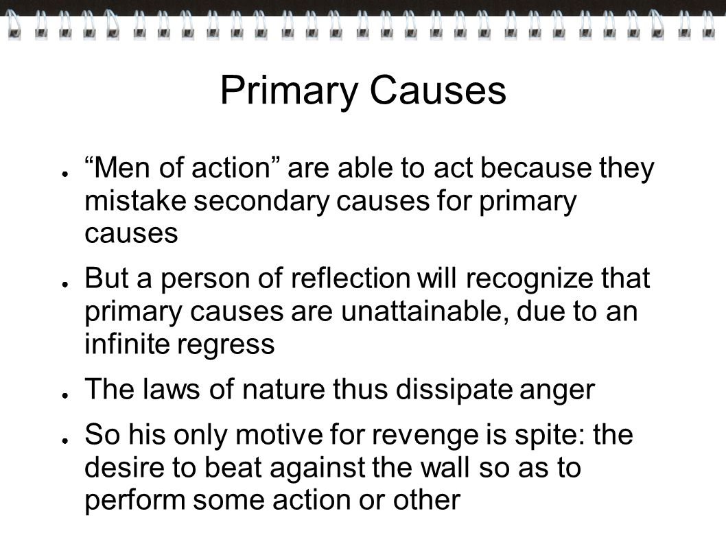 Primary Causes Men of action are able to act because they mistake secondary causes for primary causes.