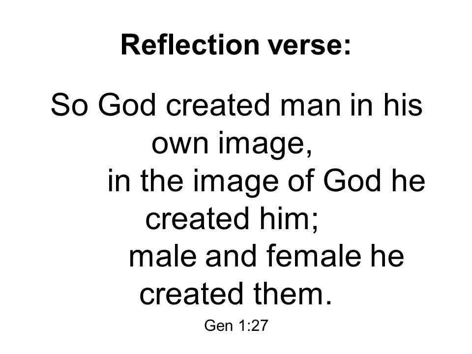 Reflection verse: So God created man in his own image, in the image of God he created him; male and female he created them.