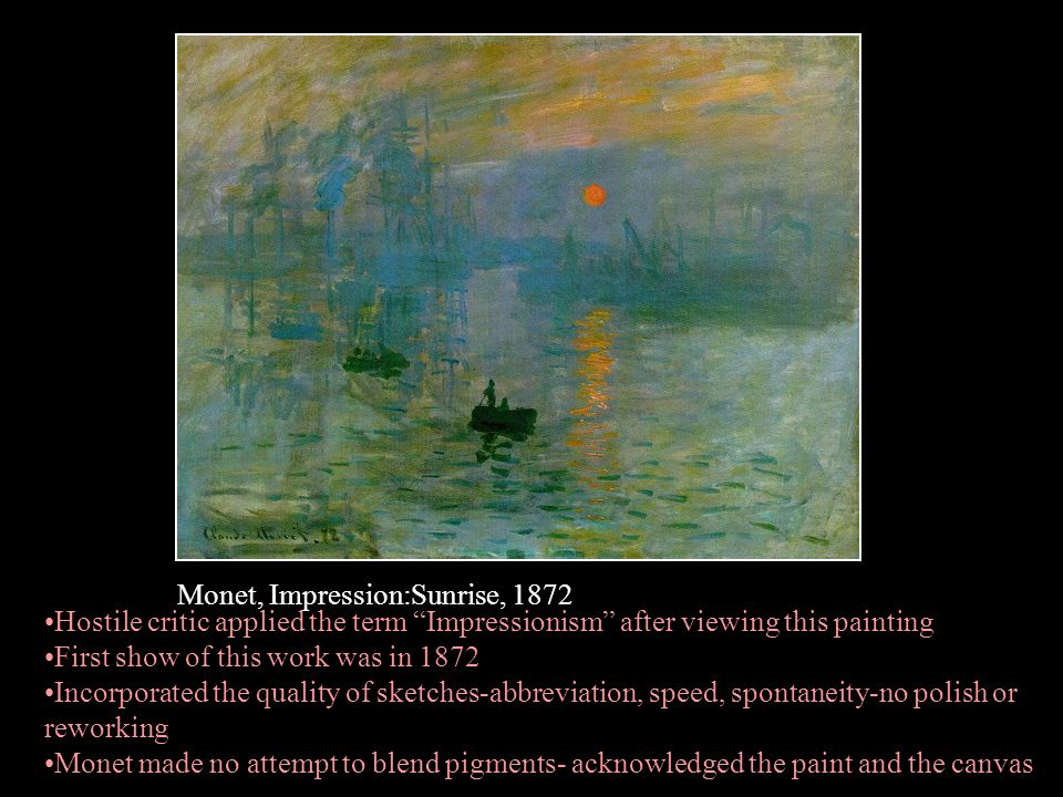 Monet, Impression:Sunrise, 1872