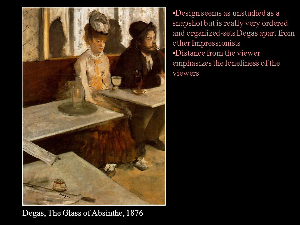 Design seems as unstudied as a snapshot but is really very ordered and organized-sets Degas apart from other Impressionists