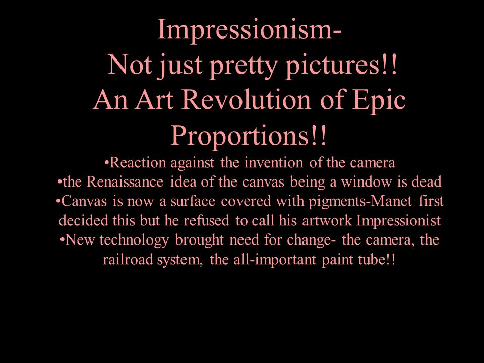 Not just pretty pictures!! An Art Revolution of Epic Proportions!!
