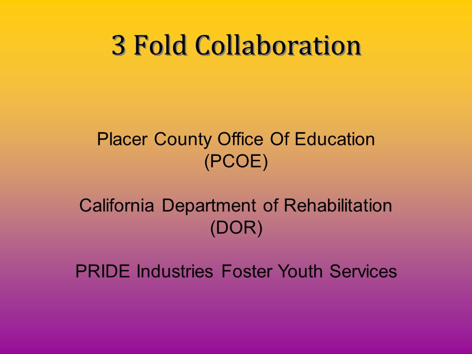 3 Fold Collaboration Placer County Office Of Education (PCOE)