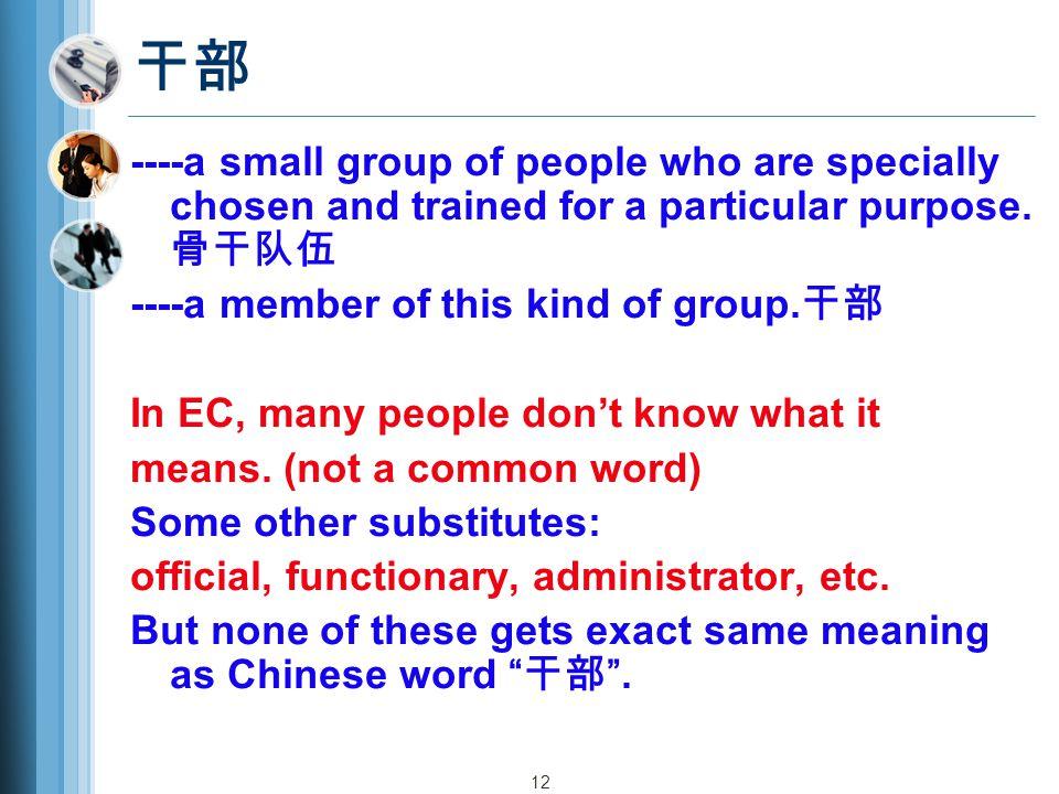 干部 ----a small group of people who are specially chosen and trained for a particular purpose.骨干队伍. ----a member of this kind of group.干部.