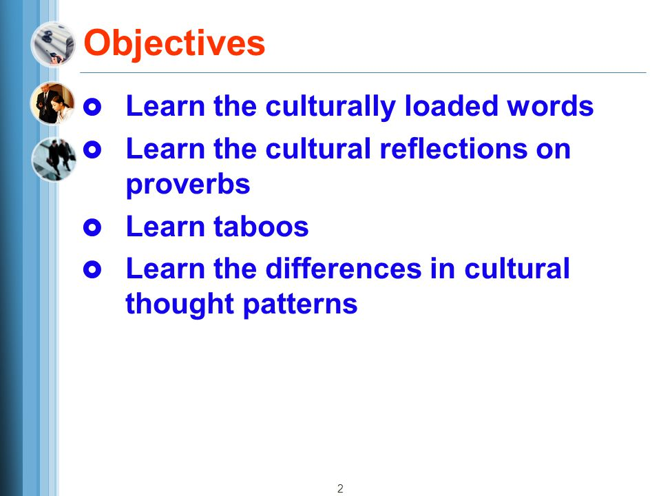 Objectives Learn the culturally loaded words