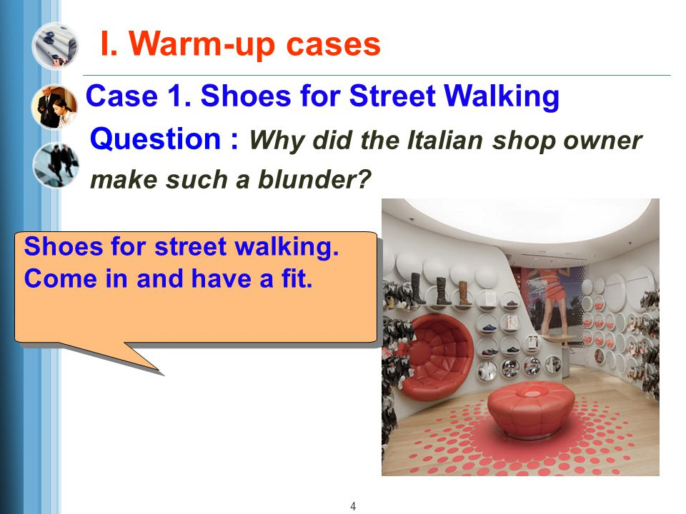 I. Warm-up cases Case 1. Shoes for Street Walking