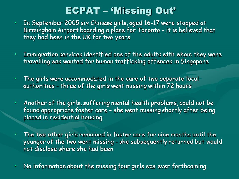 ECPAT – 'Missing Out'