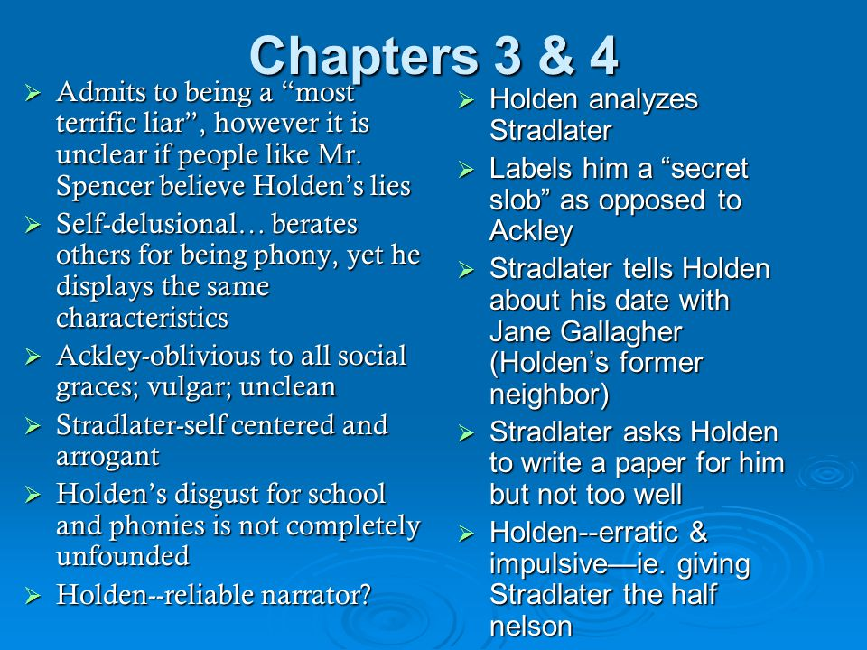 Chapters 3 & 4 Admits to being a most terrific liar , however it is unclear if people like Mr. Spencer believe Holden's lies.