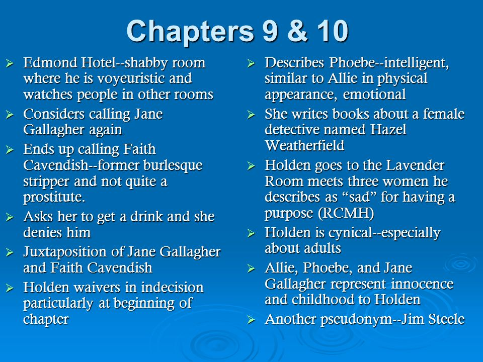 Chapters 9 & 10 Edmond Hotel--shabby room where he is voyeuristic and watches people in other rooms.