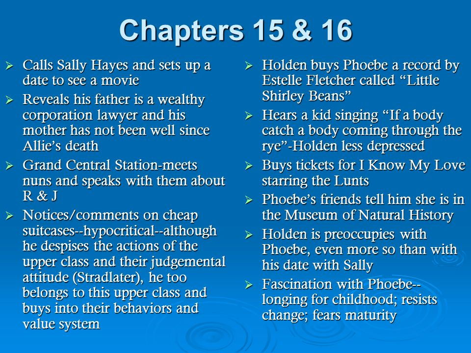 Chapters 15 & 16 Calls Sally Hayes and sets up a date to see a movie