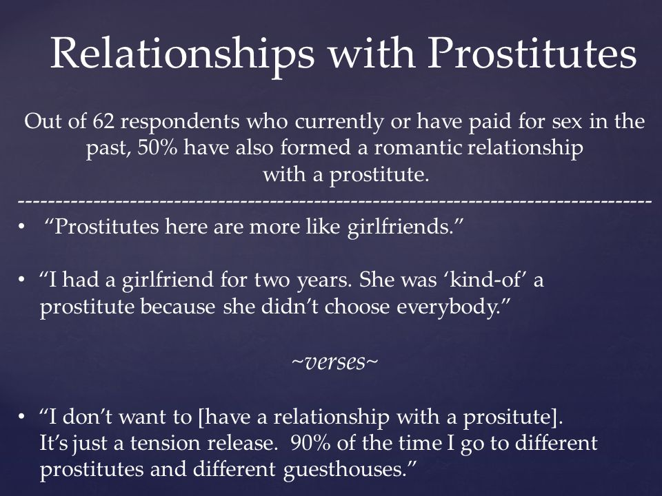 Relationships with Prostitutes