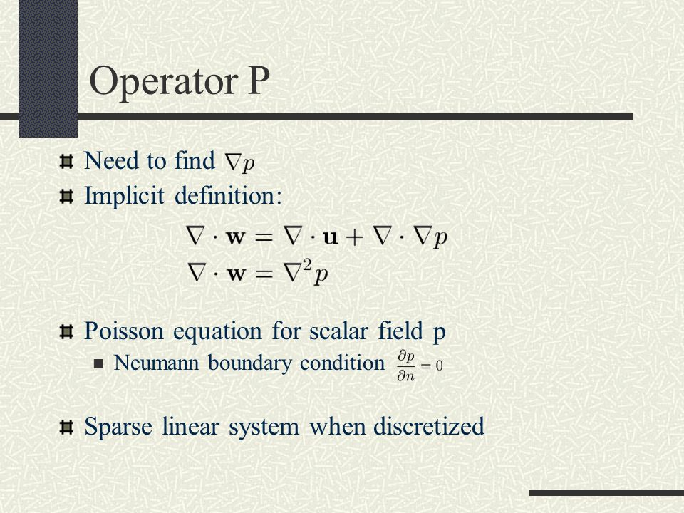Operator P Need to find Implicit definition: