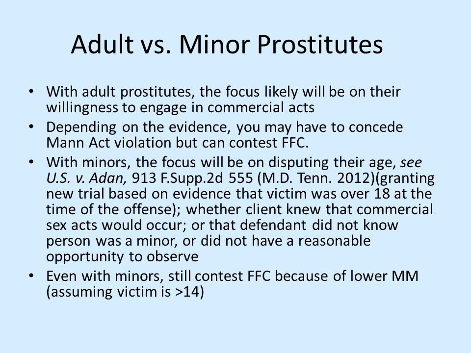 Adult vs. Minor Prostitutes