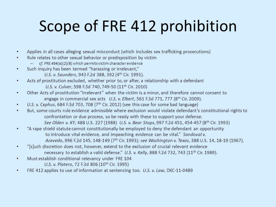 Scope of FRE 412 prohibition