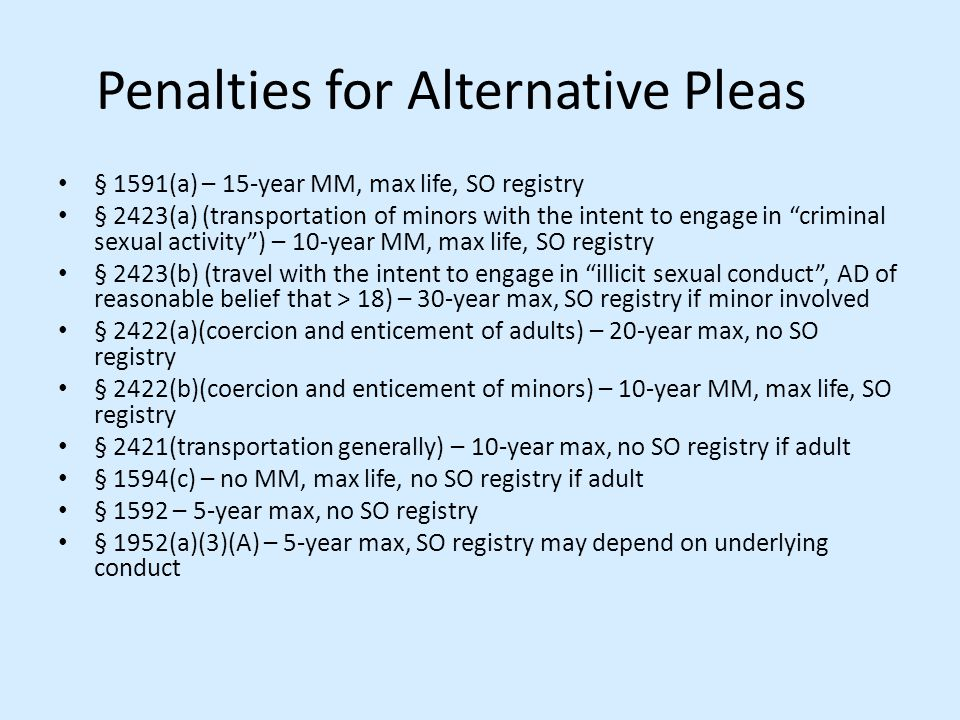 Penalties for Alternative Pleas