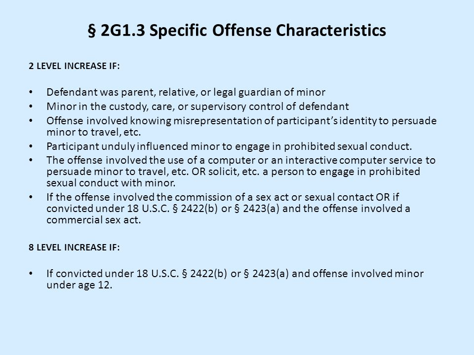 § 2G1.3 Specific Offense Characteristics