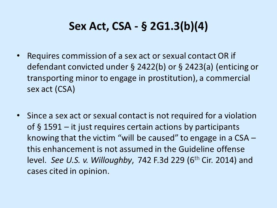 Sex Act, CSA - § 2G1.3(b)(4)