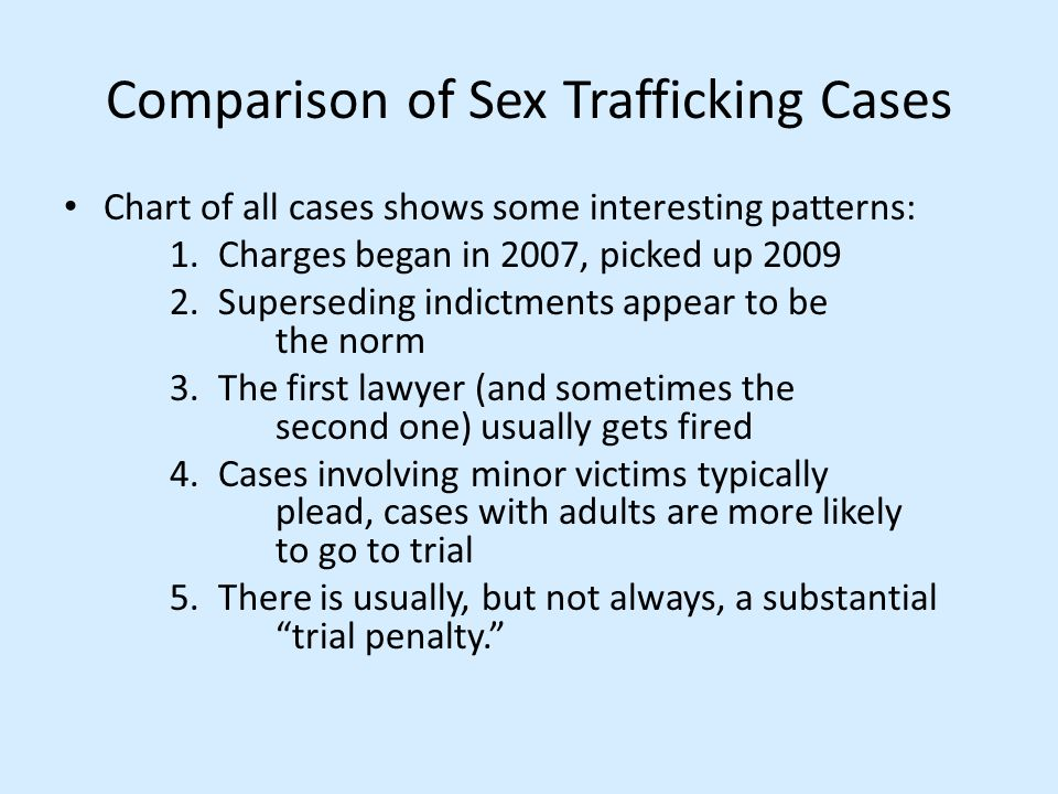 Comparison of Sex Trafficking Cases