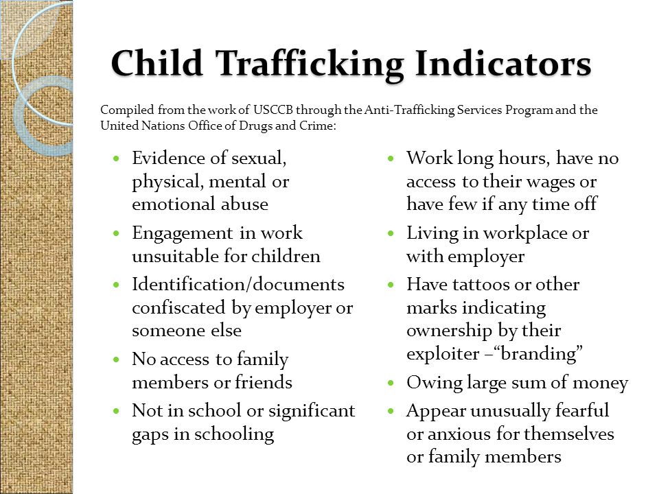 Child Trafficking Indicators