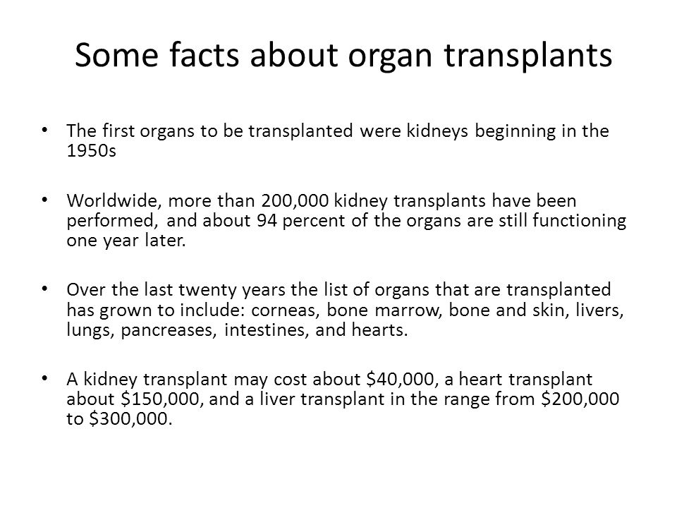 Some facts about organ transplants