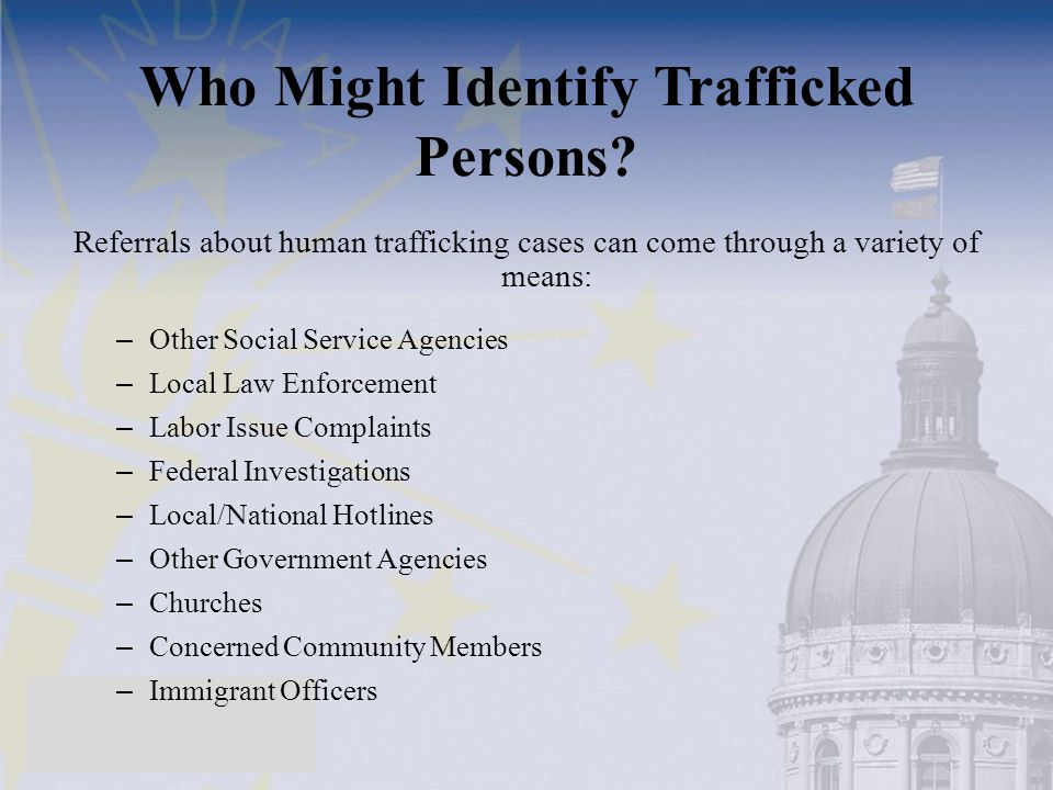 Who Might Identify Trafficked Persons