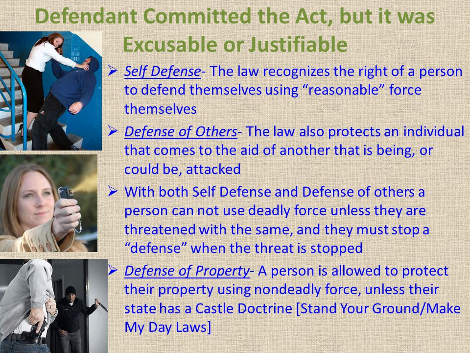 Defendant Committed the Act, but it was Excusable or Justifiable