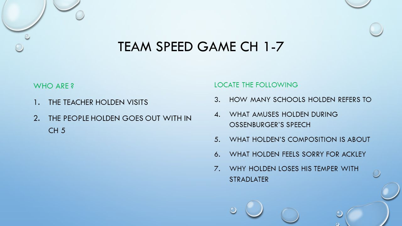 TEAm Speed GAME Ch 1-7 Who are The Teacher Holden visits