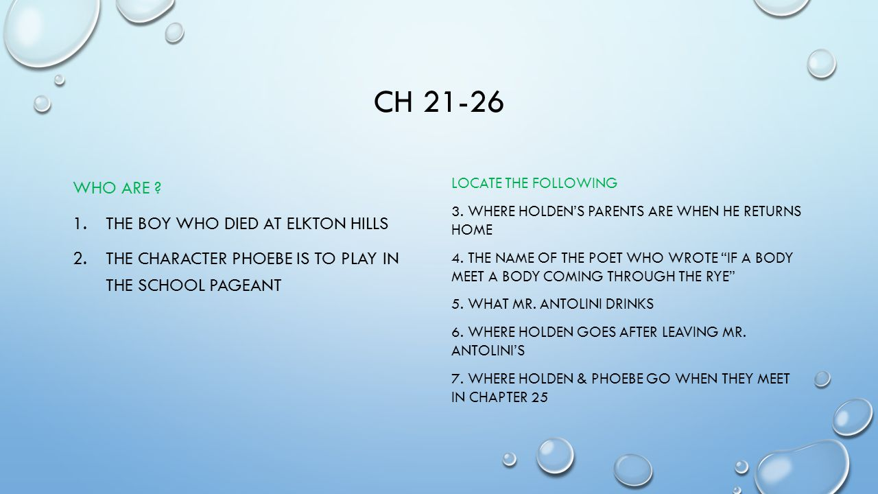 Ch 21-26 Who are The boy who died at elkton hills