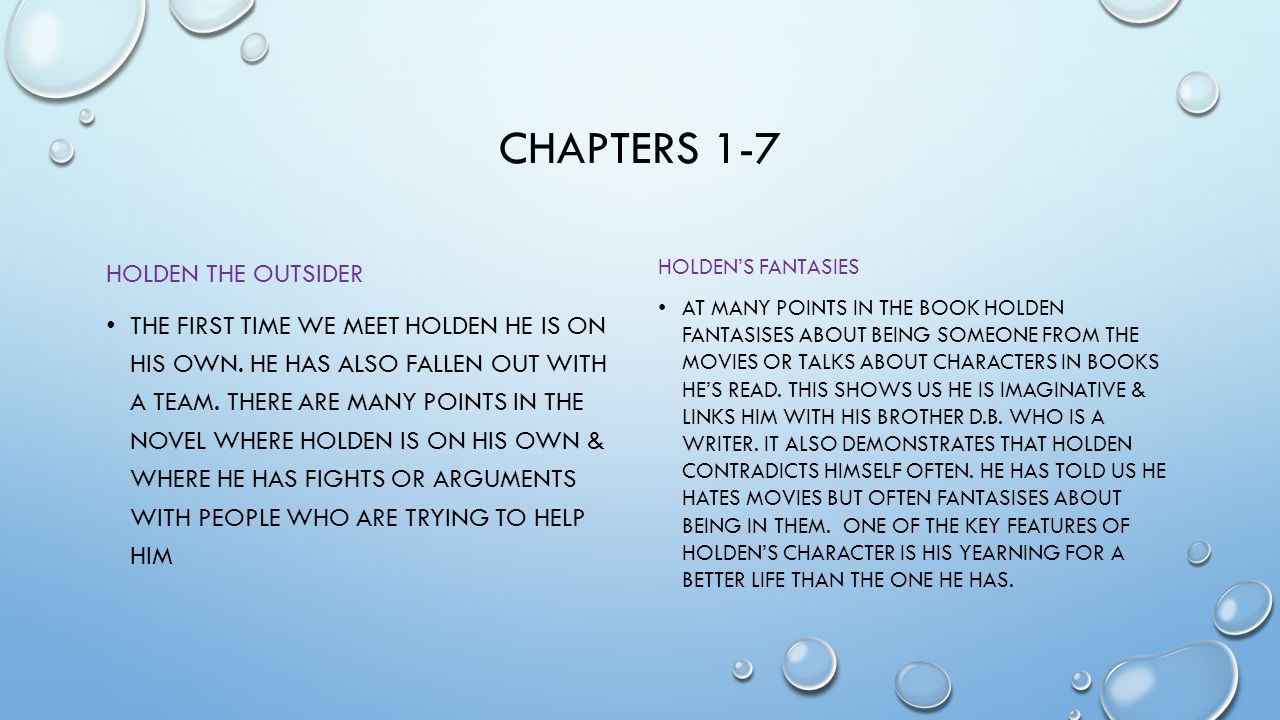 Chapters 1-7 HOLDEN THE OUTSIDER