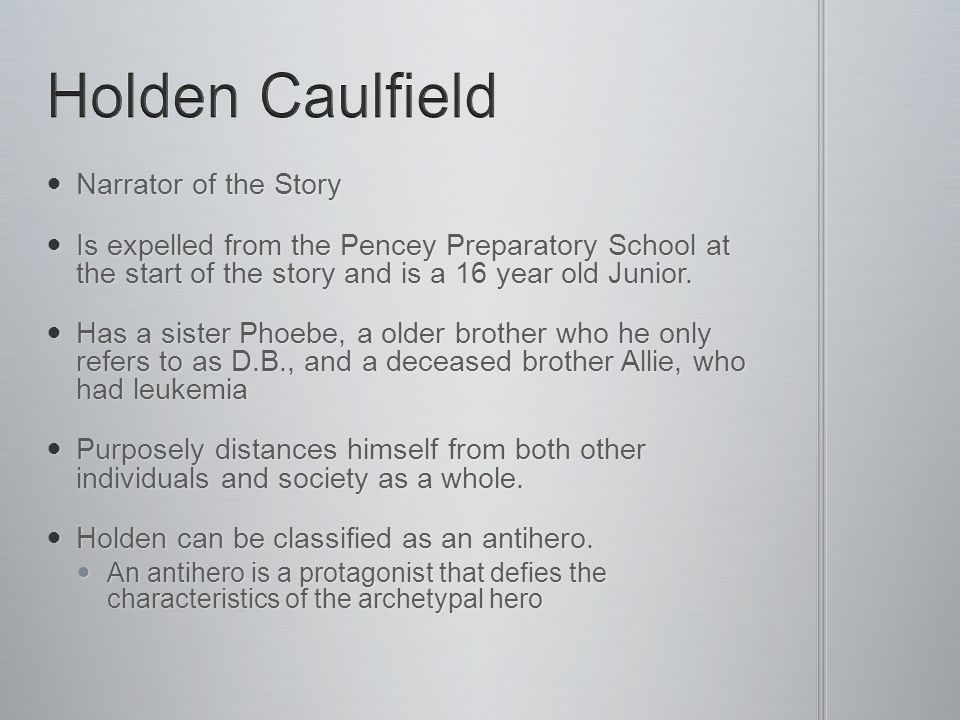 Holden Caulfield Narrator of the Story