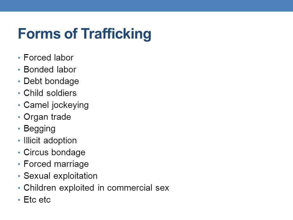 Forms of Trafficking Forced labor Bonded labor Debt bondage