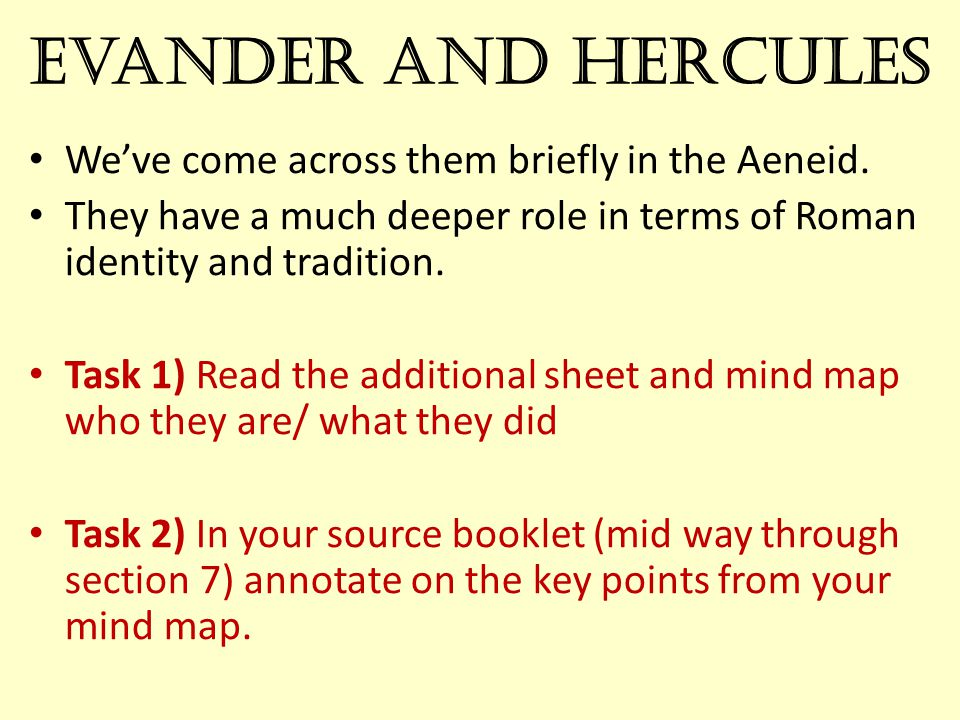 Evander and Hercules We've come across them briefly in the Aeneid.