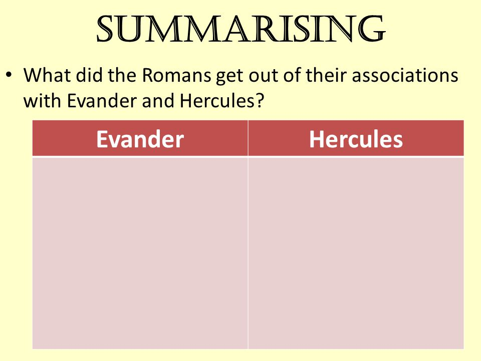 Summarising Evander Hercules