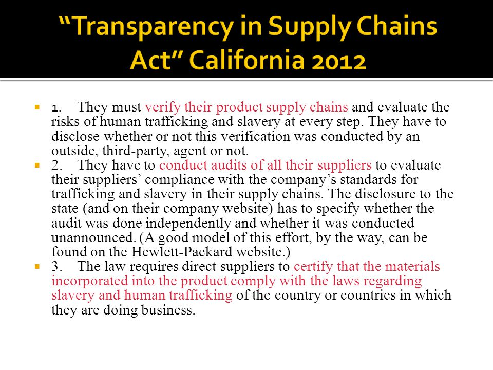 Transparency in Supply Chains Act California 2012