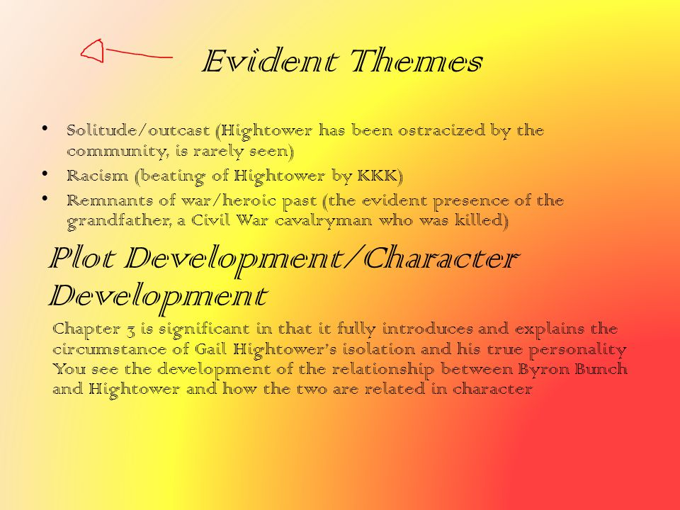 Evident Themes Plot Development/Character Development