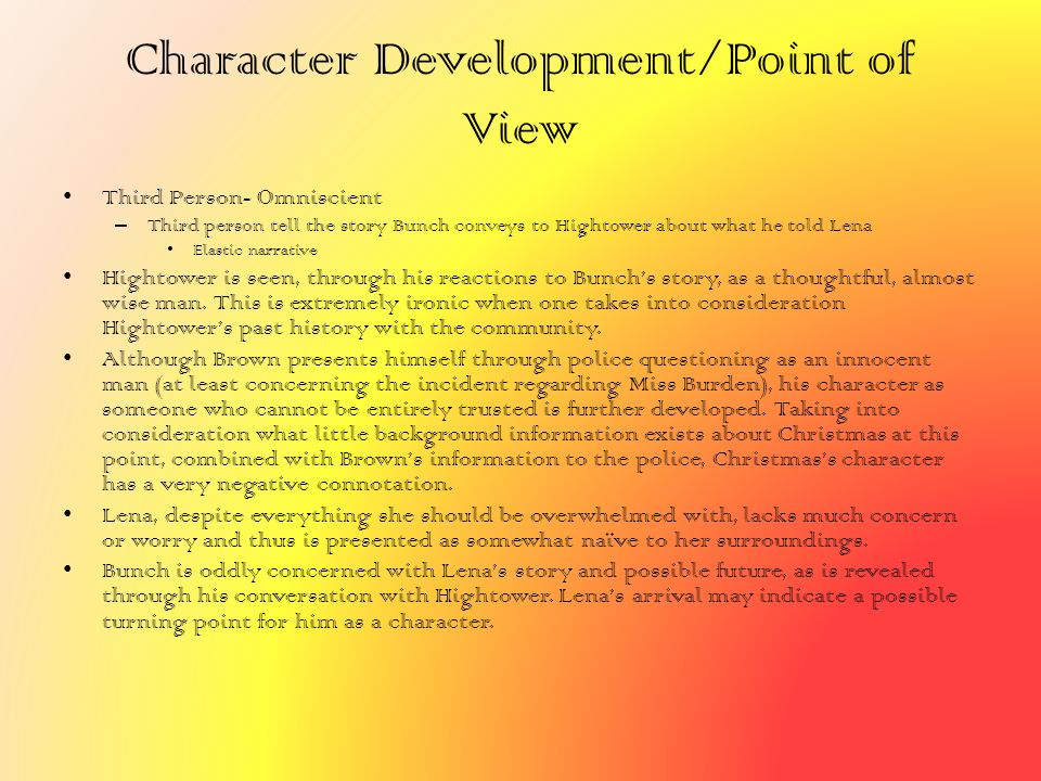 Character Development/Point of View