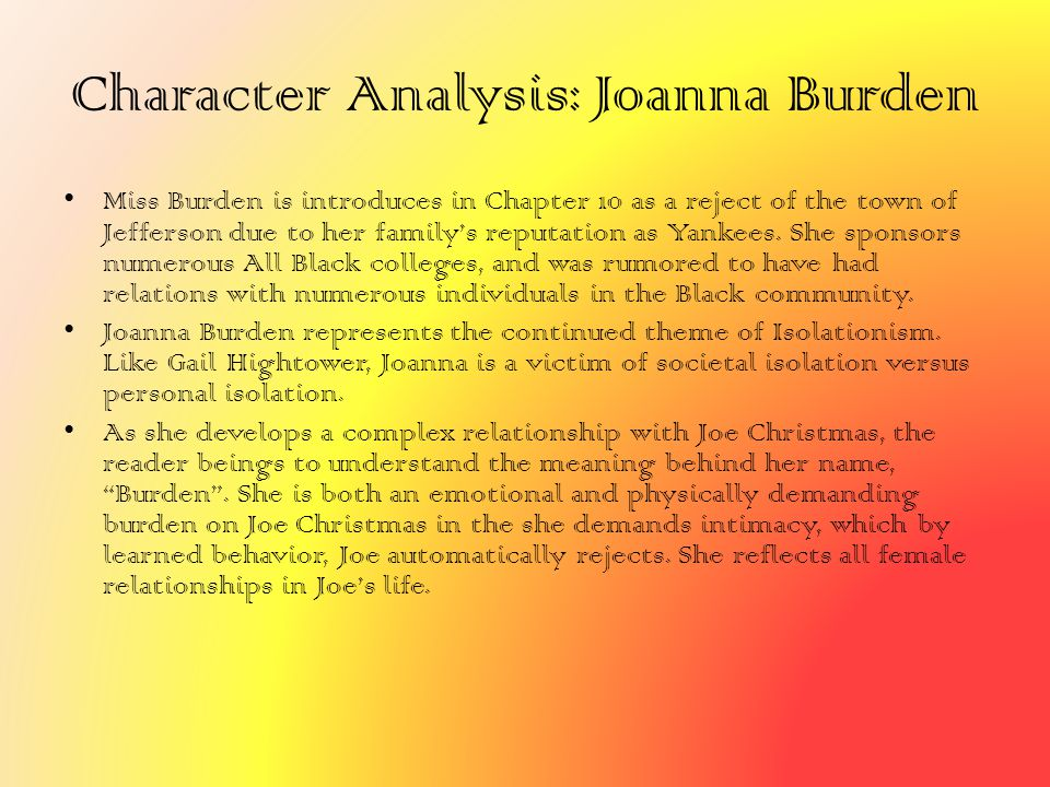Character Analysis: Joanna Burden