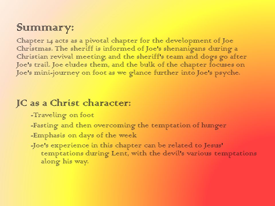 Summary: JC as a Christ character: