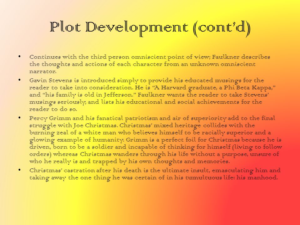 Plot Development (cont'd)