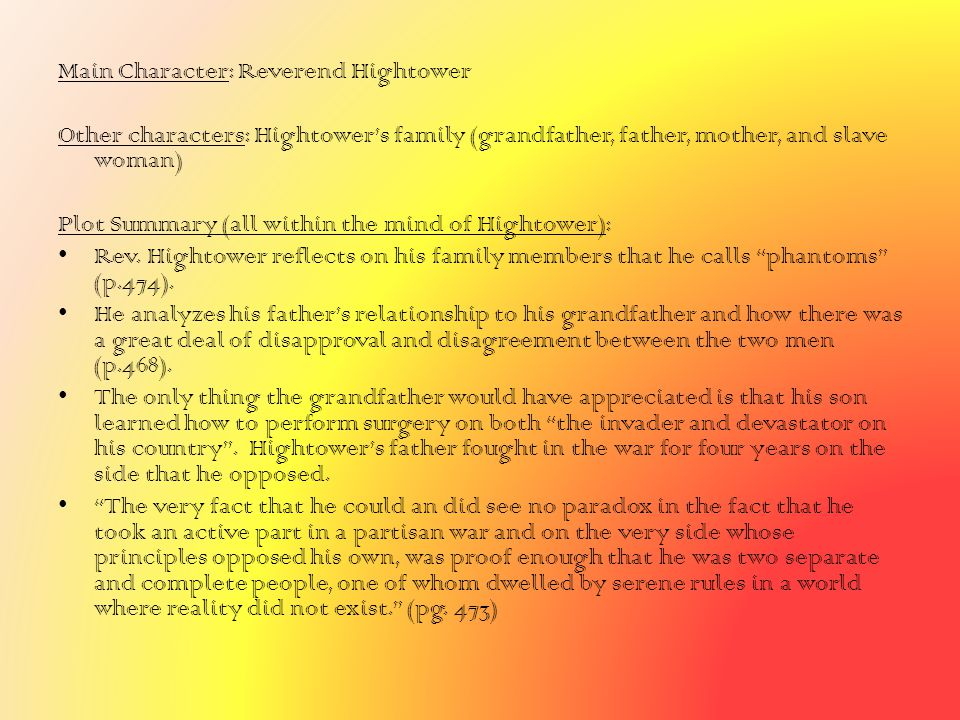 Main Character: Reverend Hightower