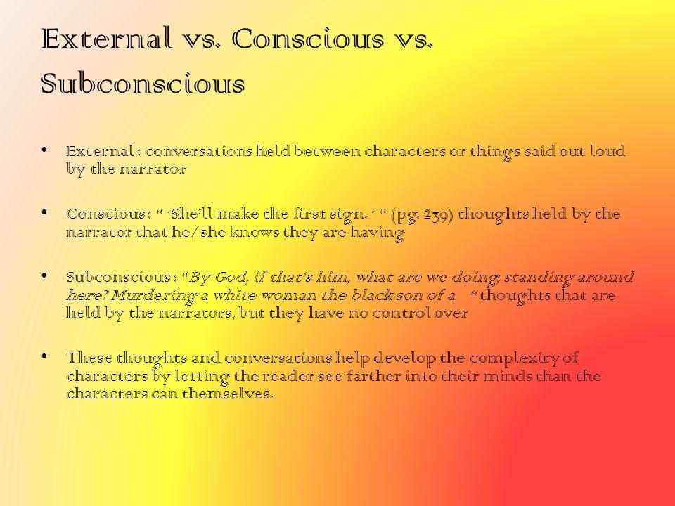 External vs. Conscious vs. Subconscious