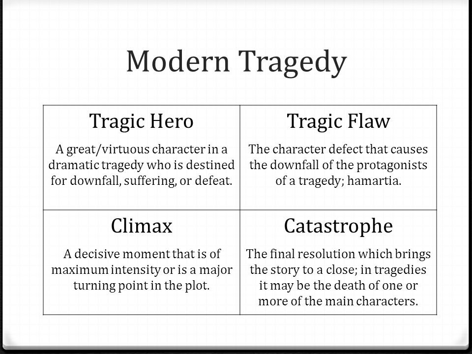 Modern Tragedy Tragic Hero Tragic Flaw Climax Catastrophe