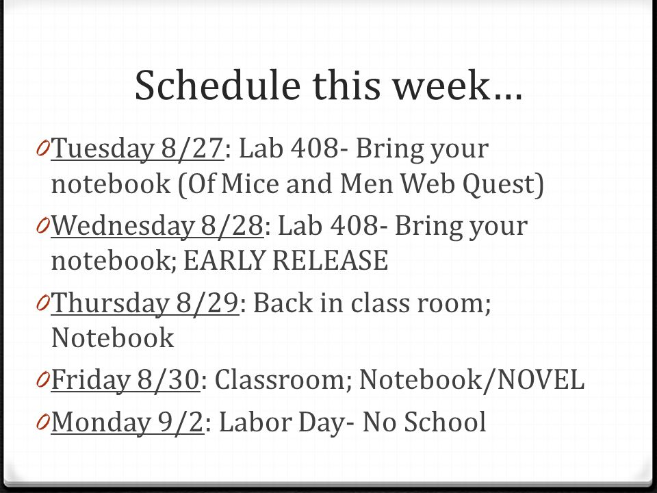 Schedule this week… Tuesday 8/27: Lab 408- Bring your notebook (Of Mice and Men Web Quest)