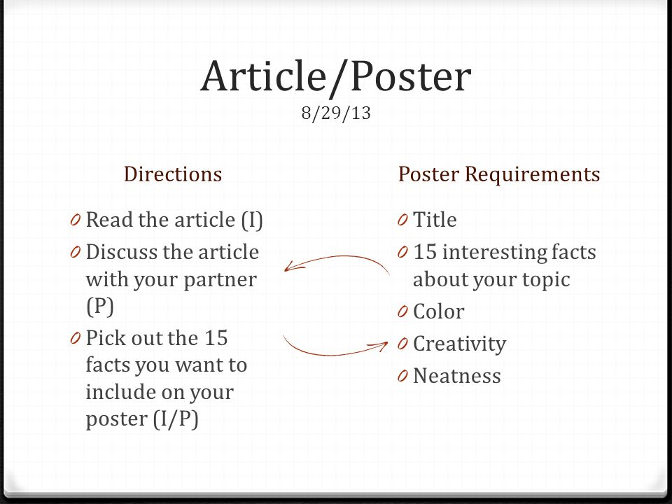 Article/Poster 8/29/13 Directions Poster Requirements