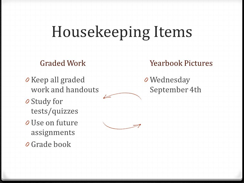 Housekeeping Items Graded Work Yearbook Pictures